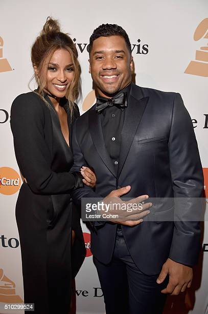 Recording artist Ciara and NFL player Russell Wilson attend the 2016 PreGRAMMY Gala and Salute to Industry Icons honoring Irving Azoff at The Beverly...