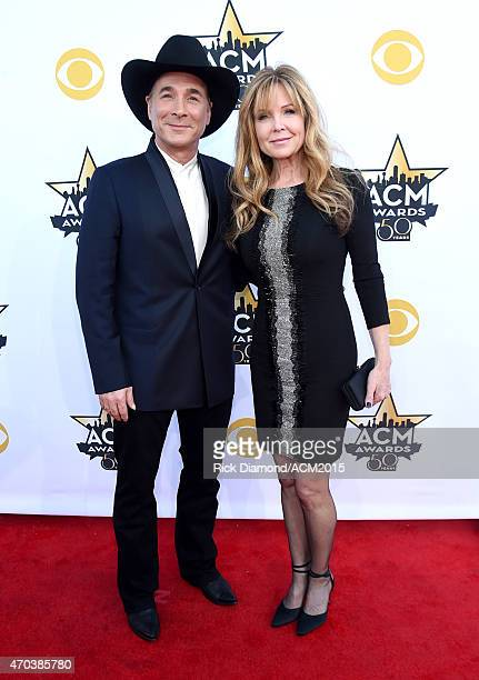 Recording artist Clint Black and actress Lisa Hartman Black attend the 50th Academy of Country Music Awards at ATT Stadium on April 19 2015 in...