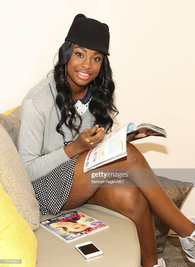 Recording artist <a gi-track='captionPersonalityLinkClicked' href=/galleries/search?phrase=Coco+Jones&family=editorial&specificpeople=4684153 ng-click='$event.stopPropagation()'>Coco Jones</a> poses for a picture backstage during BET's '106 & Park' at BET Studios on July 31, 2013 in New York City.