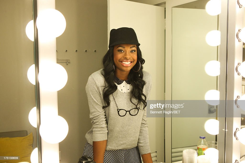 Recording artist Coco Jones poses for a picture backstage during BET's '106 & Park' at BET Studios on July 31, 2013 in New York City.