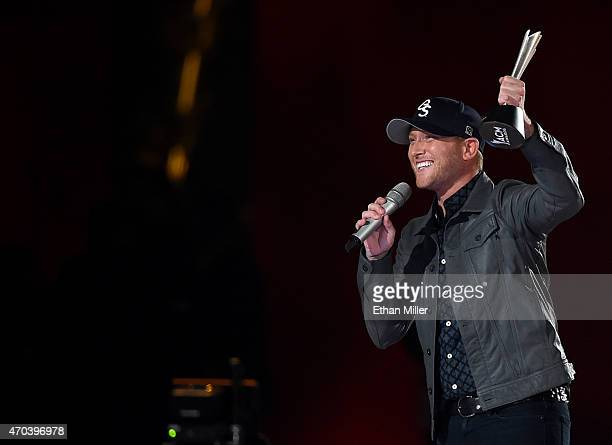Recording artist Cole Swindell accepts the award for New Artist of the Year onstage during the 50th Academy of Country Music Awards at ATT Stadium on...