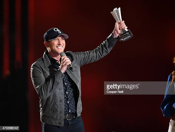 Recording artist Cole Swindell accepts the New Artist of the Year Award onstage during the 50th Academy Of Country Music Awards at ATT Stadium on...