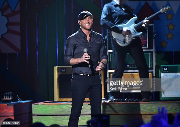 Recording artist Cole Swindell performs onstage during the 2014 American Country Countdown Awards at Music City Center on December 15 2014 in...
