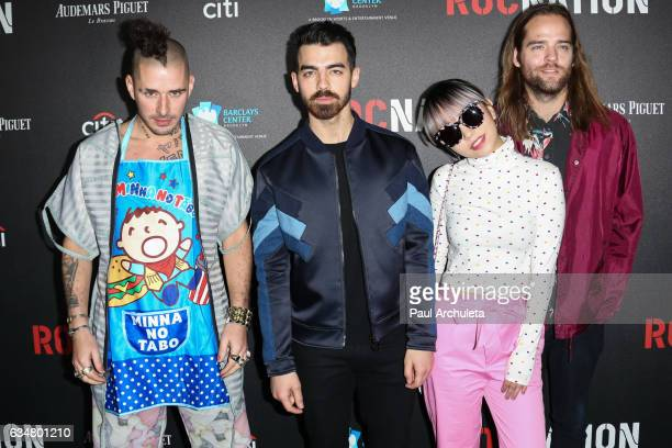 Recording Artist Cole Whittle Joe Jonas JinJoo Lee and Jack Lawless of DNCE attnds the Roc Nation preGRAMMY Brunch on February 11 2017 in Los Angeles...