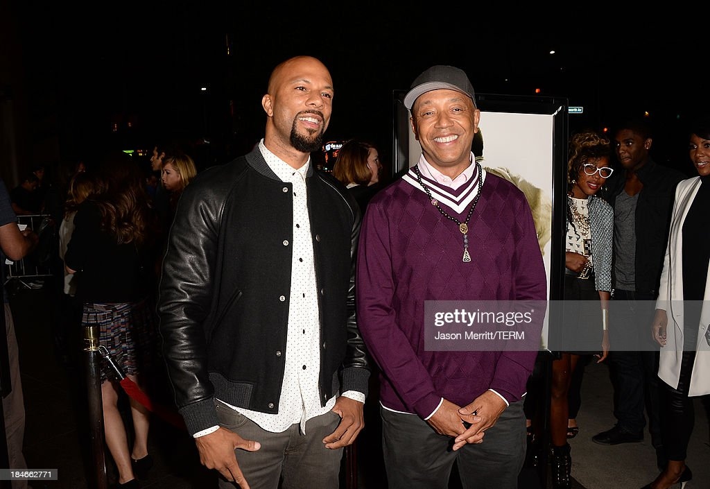 Recording artist Common (L) and <a gi-track='captionPersonalityLinkClicked' href=/galleries/search?phrase=Russell+Simmons&family=editorial&specificpeople=202479 ng-click='$event.stopPropagation()'>Russell Simmons</a> arrives at the Los Angeles premiere of '12 Years A Slave' at Directors Guild Of America on October 14, 2013 in Los Angeles, California.