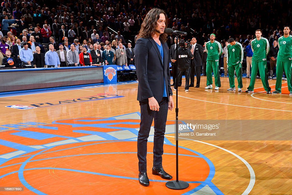 Recording artist Constantine Maroulis performs the National Anthem before the Boston Celtics play the New York Knicks in Game Five of the Eastern Conference Quarterfinals during the 2013 NBA Playoffs on May 1, 2013 at Madison Square Garden in New York City