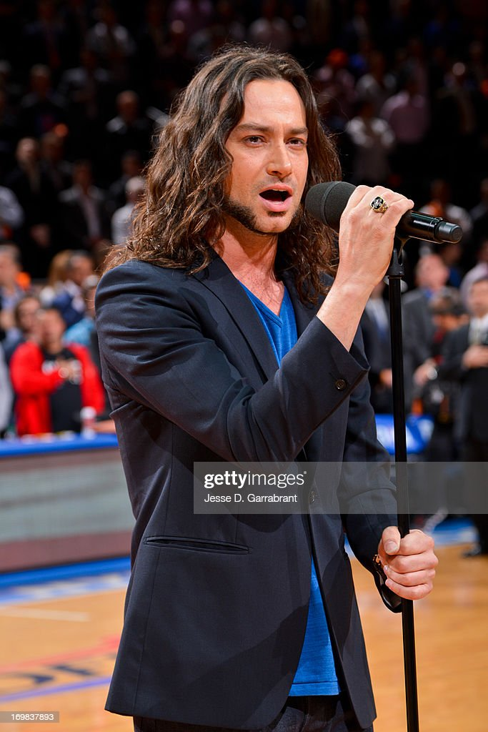Recording artist <a gi-track='captionPersonalityLinkClicked' href=/galleries/search?phrase=Constantine+Maroulis&family=editorial&specificpeople=208875 ng-click='$event.stopPropagation()'>Constantine Maroulis</a> performs the National Anthem before the Boston Celtics play the New York Knicks in Game Five of the Eastern Conference Quarterfinals during the 2013 NBA Playoffs on May 1, 2013 at Madison Square Garden in New York City
