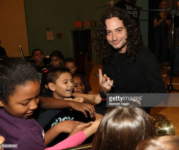 Recording artist Constantine Maroulis visits PS/IS 111 on November 13 2009 in New York City