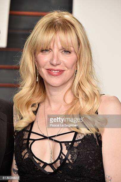 Recording artist Courtney Love attends the 2016 Vanity Fair Oscar Party Hosted By Graydon Carter at the Wallis Annenberg Center for the Performing...