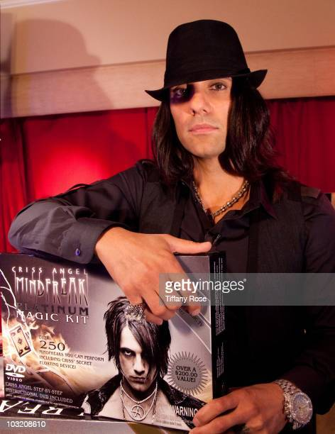 ANGELES CA AUGUST 02 Recording artist Criss Angel visits Young Hollywood Studio on August 2 2010 in Los Angeles California