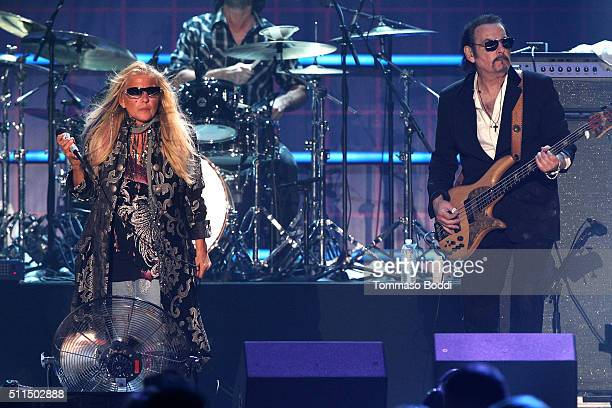 Recording artist Dale Bozzio and Prescott Niles of music group Missing Persons perform on stage during the iHeart80s Party 2016 at The Forum on...