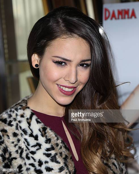 Recording Artist Danna Paola poses for pictures before her press conference to announce the crossover film 'Saving Sara Cruz' on January 21 2014 in...