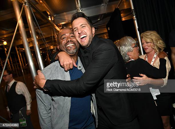 Recording artist Darius Rucker and host Luke Bryan attend the 50th Academy of Country Music Awards at ATT Stadium on April 19 2015 in Arlington Texas