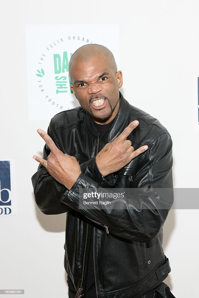 Recording artist <a gi-track='captionPersonalityLinkClicked' href=/galleries/search?phrase=Darryl+McDaniels&family=editorial&specificpeople=175934 ng-click='$event.stopPropagation()'>Darryl McDaniels</a> attends the 'Dance This Way' Benefit Dance-A-Thon kick off party at WB Wood on February 28, 2013 in New York City.