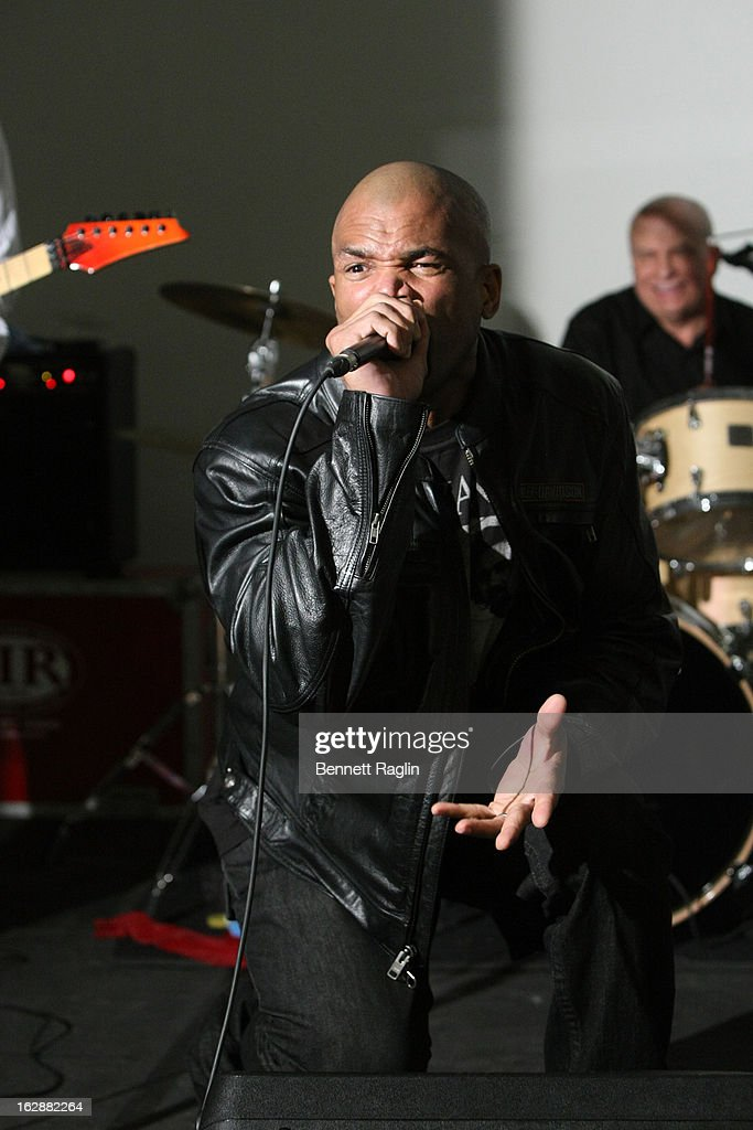 Recording artist <a gi-track='captionPersonalityLinkClicked' href=/galleries/search?phrase=Darryl+McDaniels&family=editorial&specificpeople=175934 ng-click='$event.stopPropagation()'>Darryl McDaniels</a> performs during the 'Dance This Way' Benefit Dance-A-Thon kick off party at WB Wood on February 28, 2013 in New York City.