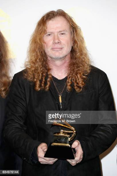 Recording artist Dave Mustaine of Megadeth winner of Best Metal Performance for 'Dystopia' poses in the press room during The 59th GRAMMY Awards at...