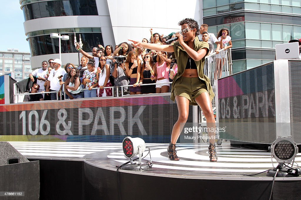 Recording artist DeJ Loaf performs onstage during 106 Park with ESPN cross promotion Sports Center during the 2015 BET Experience at Nokia Plaza on...
