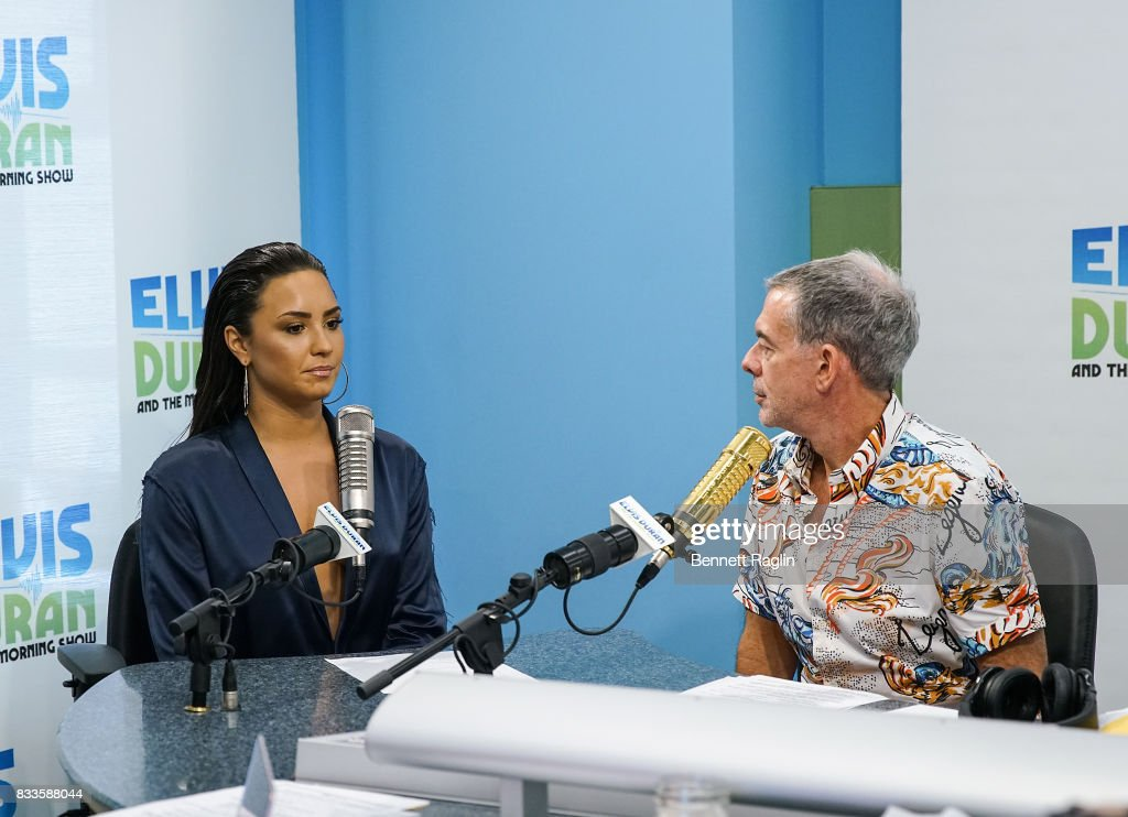 Recording artist Demi Lovato (R) and radio host Elvis Duran visit 'The Elvis Duran Z100 Morning Show' to discuss her upcoming album at Z100 Studio on August 17, 2017 in New York City.