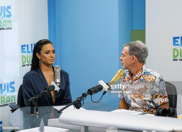 Recording artist Demi Lovato and radio host Elvis Duran visit 'The Elvis Duran Z100 Morning Show' to discuss her upcoming album at Z100 Studio on...