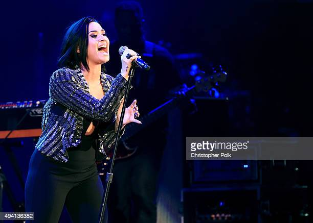 Recording artist Demi Lovato performs onstage during CBS RADIOs third annual We Can Survive presented by Chrysler at the Hollywood Bowl on October 24...