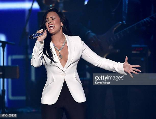 Recording artist Demi Lovato performs onstage during The 58th GRAMMY Awards at Staples Center on February 15 2016 in Los Angeles California