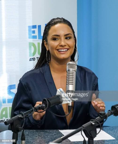 Recording artist Demi Lovato visits 'The Elvis Duran Z100 Morning Show' to discuss her upcoming album at Z100 Studio on August 17 2017 in New York...