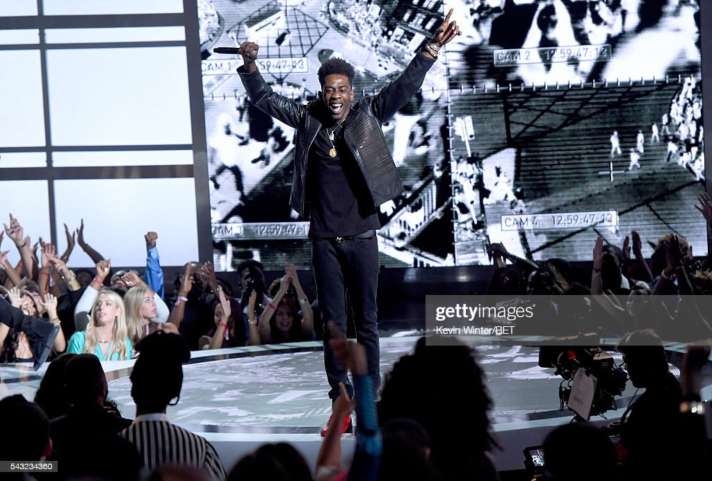 Recording artist <a gi-track='captionPersonalityLinkClicked' href=/galleries/search?phrase=Desiigner+-+Rapper&family=editorial&specificpeople=15733824 ng-click='$event.stopPropagation()'>Desiigner</a> performs onstage during the 2016 BET Awards at the Microsoft Theater on June 26, 2016 in Los Angeles, California.