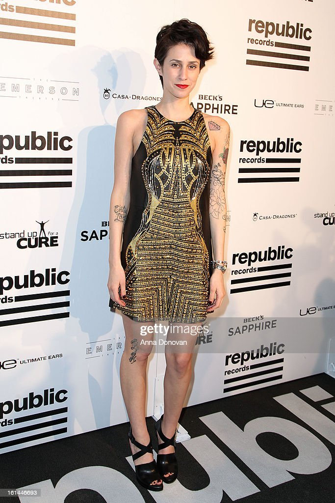 Recording artist Dev arrives to the Republic Records post GRAMMY party at the Emerson Theatre on February 10, 2013 in Hollywood, California.