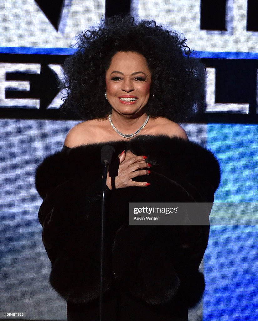Recording artist <a gi-track='captionPersonalityLinkClicked' href=/galleries/search?phrase=Diana+Ross&family=editorial&specificpeople=202836 ng-click='$event.stopPropagation()'>Diana Ross</a> speaks onstage at the 2014 American Music Awards at Nokia Theatre L.A. Live on November 23, 2014 in Los Angeles, California.