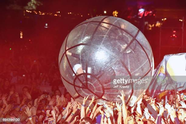 Recording artist Diplo of Major Lazer crowd surfs in a ball at What Stage during Day 2 of the 2017 Bonnaroo Arts And Music Festival on June 9 2017 in...