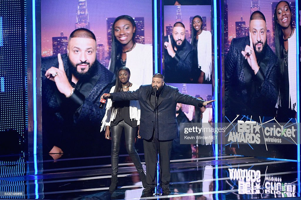 Recording artist <a gi-track='captionPersonalityLinkClicked' href=/galleries/search?phrase=DJ+Khaled&family=editorial&specificpeople=577862 ng-click='$event.stopPropagation()'>DJ Khaled</a> speaks onstage during the 2016 BET Awards at the Microsoft Theater on June 26, 2016 in Los Angeles, California.