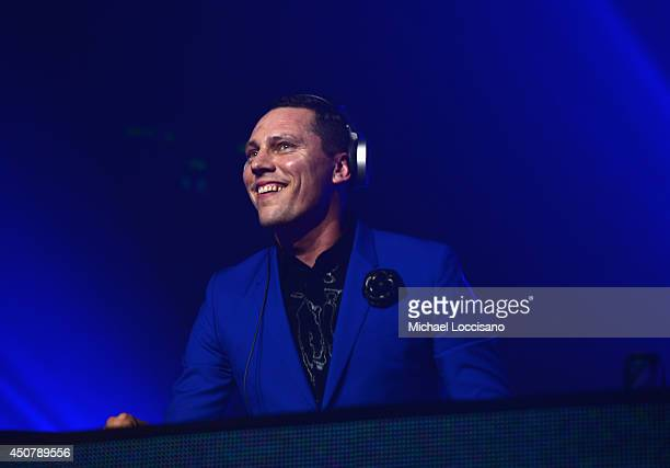 Recording artist DJ Tiesto performs as 7UP Presents Tiesto's 'A Town Called Paradise' album release celebration at Terminal 5 on June 17 2014 in New...