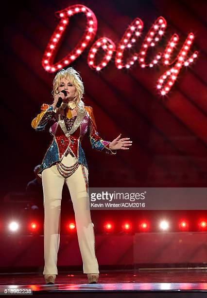 Recording artist Dolly Parton performs onstage during the 51st Academy of Country Music Awards at MGM Grand Garden Arena on April 3 2016 in Las Vegas...