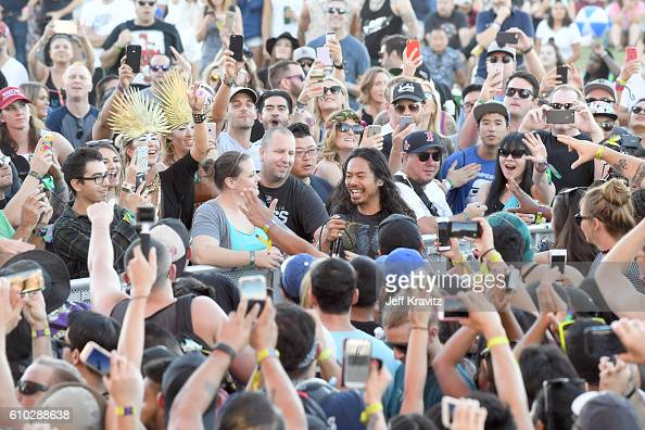 Recording artist Dougy Mandagi of The Temper Trap performs for the crowd during day 2 of the Life Is Beautiful festival on September 24 2016 in Las...