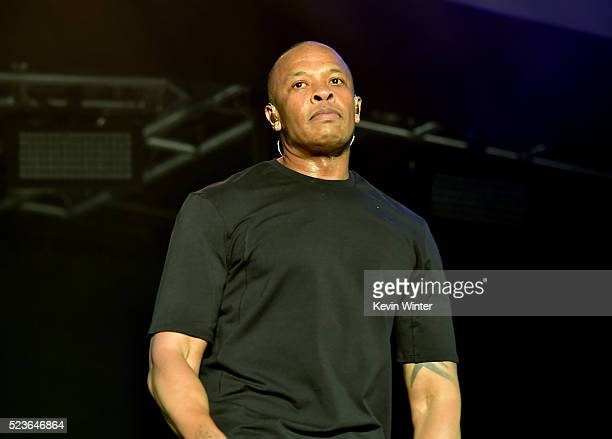 Recording artist Dr Dre performs onstage during day 2 of the 2016 Coachella Valley Music Arts Festival Weekend 2 at the Empire Polo Club on April 23...