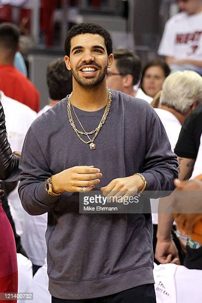 Recording artist Drake attends Game Three of the Eastern Conference Finals between the Miami Heat and the Chicago Bulls during the 2011 NBA Playoffs...