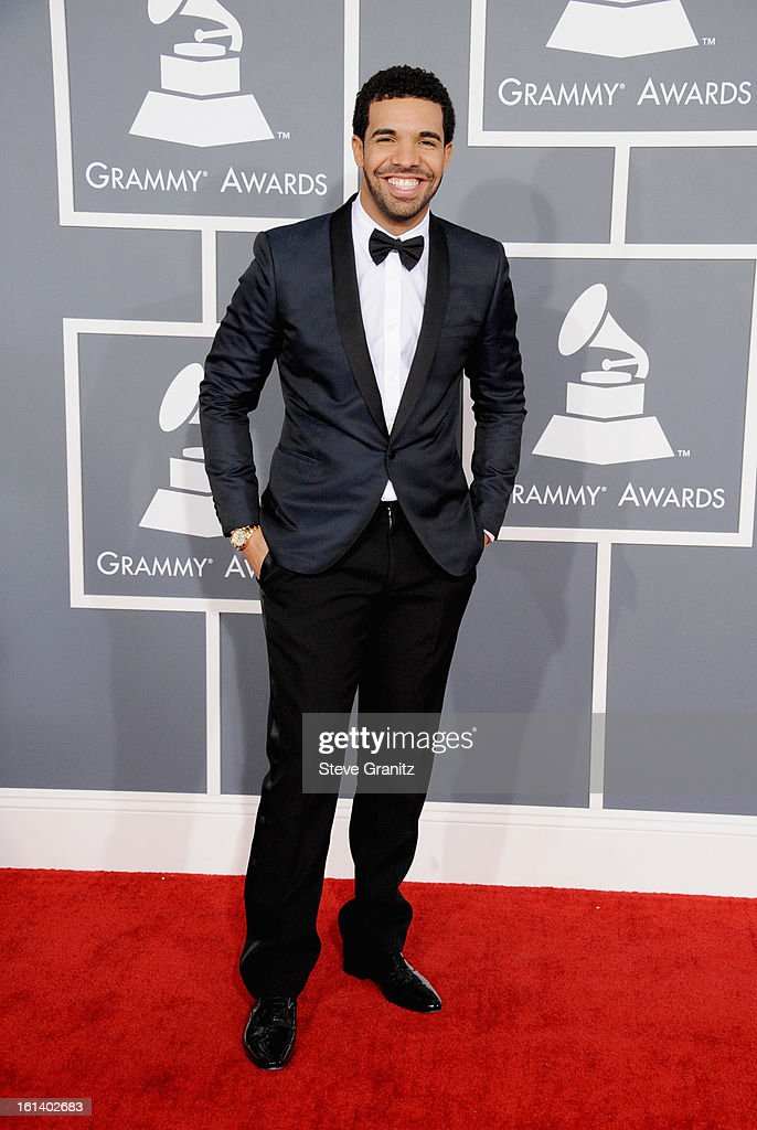 Recording Artist <a gi-track='captionPersonalityLinkClicked' href=/galleries/search?phrase=Drake+-+Entertainer&family=editorial&specificpeople=6927008 ng-click='$event.stopPropagation()'>Drake</a> attends the 55th Annual GRAMMY Awards at STAPLES Center on February 10, 2013 in Los Angeles, California.