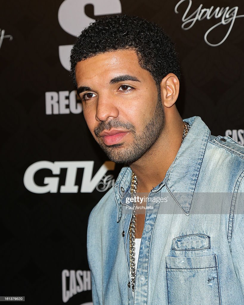 Recording Artist <a gi-track='captionPersonalityLinkClicked' href=/galleries/search?phrase=Drake+-+Entertainer&family=editorial&specificpeople=6927008 ng-click='$event.stopPropagation()'>Drake</a> attends the Cash Money Records 4th annual Pre-GRAMMY Awards party on February 9, 2013 in West Hollywood, California.