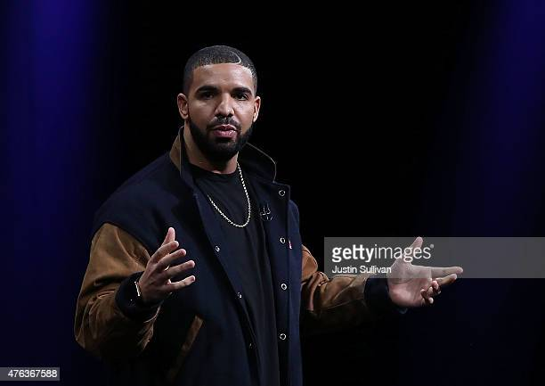 Recording artist Drake speaks about Apple Music during the Apple WWDC on June 8 2015 in San Francisco California Apple annouced a new OS X El Capitan...