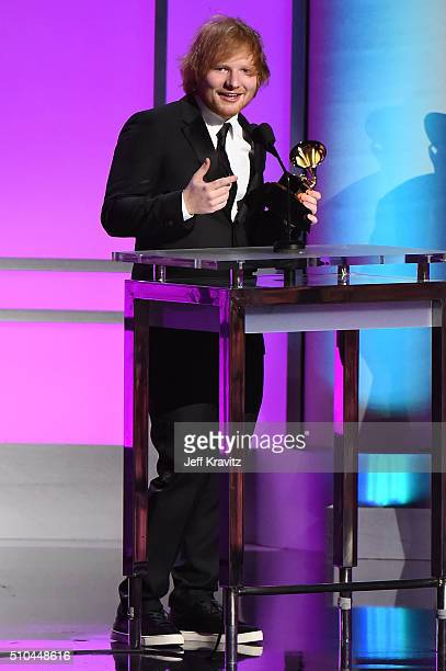 Recording artist Ed Sheeran accepts the award for Best Pop Solo Performance for 'Thinking Out Loud' onstage during The 58th GRAMMY Premiere Ceremony...