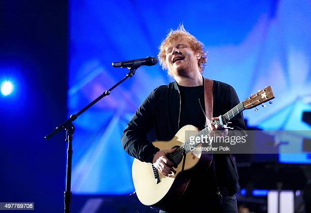 Recording artist Ed Sheeran performs onstage at AE Networks 'Shining A Light' concert at The Shrine Auditorium on November 18 2015 in Los Angeles...