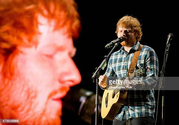 Recording artist Ed Sheeran performs onstage during Rock in Rio USA at the MGM Resorts Festival Grounds on May 15 2015 in Las Vegas Nevada