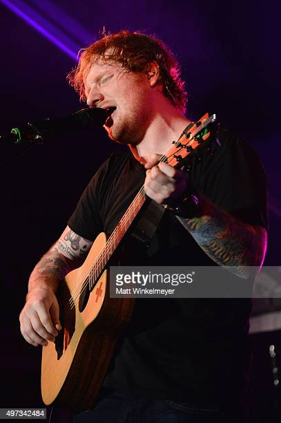 Recording artist Ed Sheeran performs onstage during Rock4EB 2015 with Ed Sheeran and David Spade on November 15 2015 in Malibu California