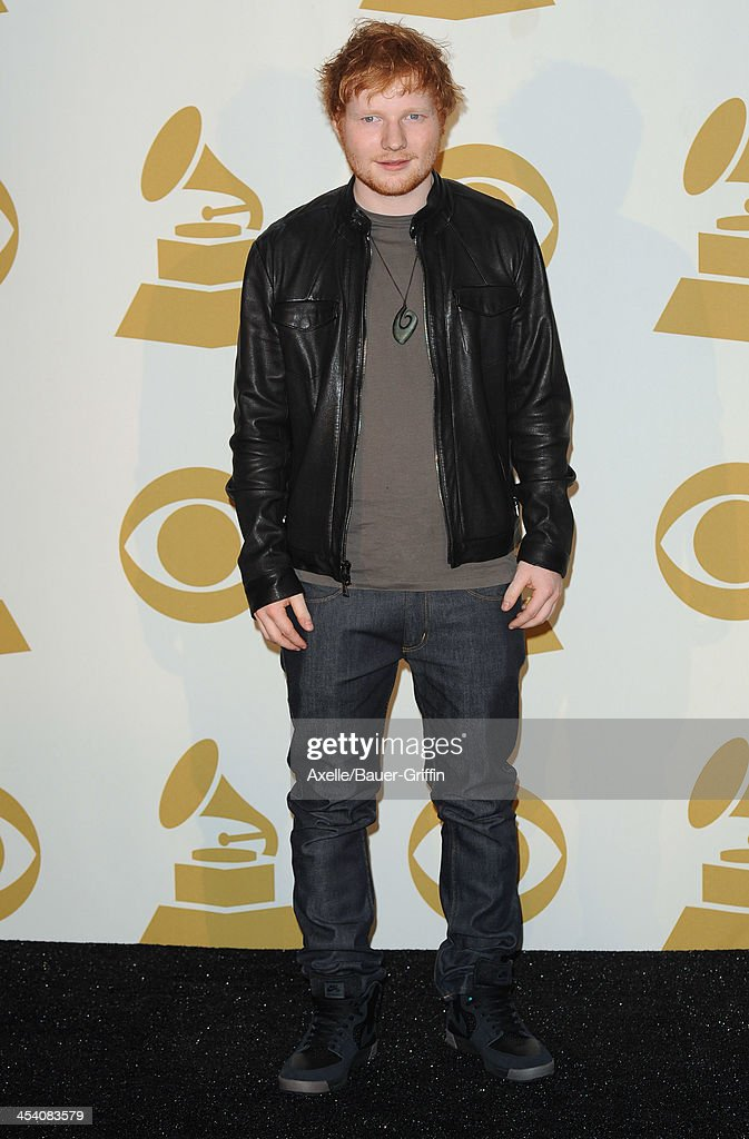 Recording artist Ed Sheeran poses in the press room at The GRAMMY Nominations Concert Live! Countdown To Music's Biggest Night at Nokia Theatre L.A. Live on December 6, 2013 in Los Angeles, California.