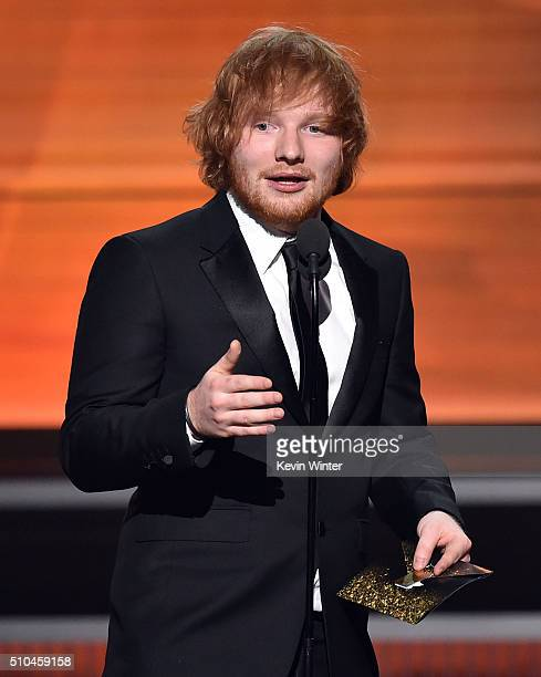 Recording artist Ed Sheeran speaks onstage during The 58th GRAMMY Awards at Staples Center on February 15 2016 in Los Angeles California
