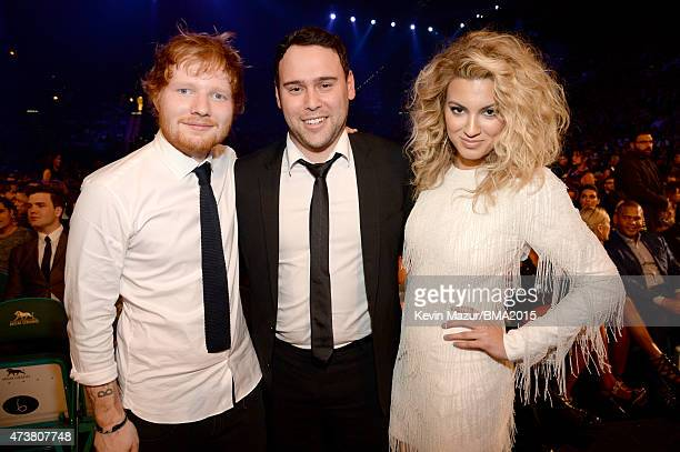 Recording artist Ed Sheeran talent manager Scooter Braun and recording artist Tori Kelly attend the 2015 Billboard Music Awards at MGM Grand Garden...