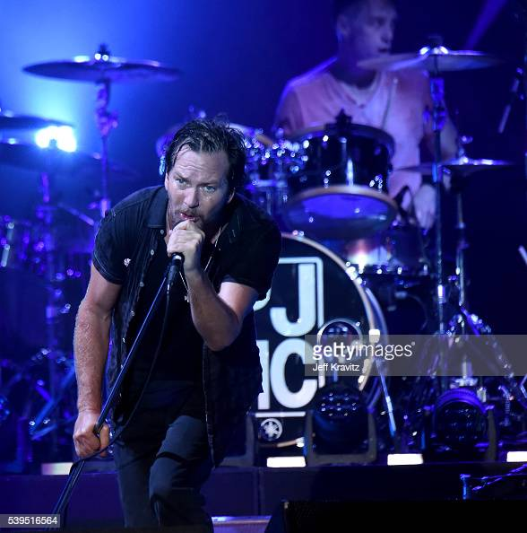 Recording artist Eddie Vedder and Matt Cameron of Pearl Jam perform onstage at What Stage during Day 3 of the 2016 Bonnaroo Arts And Music Festival...
