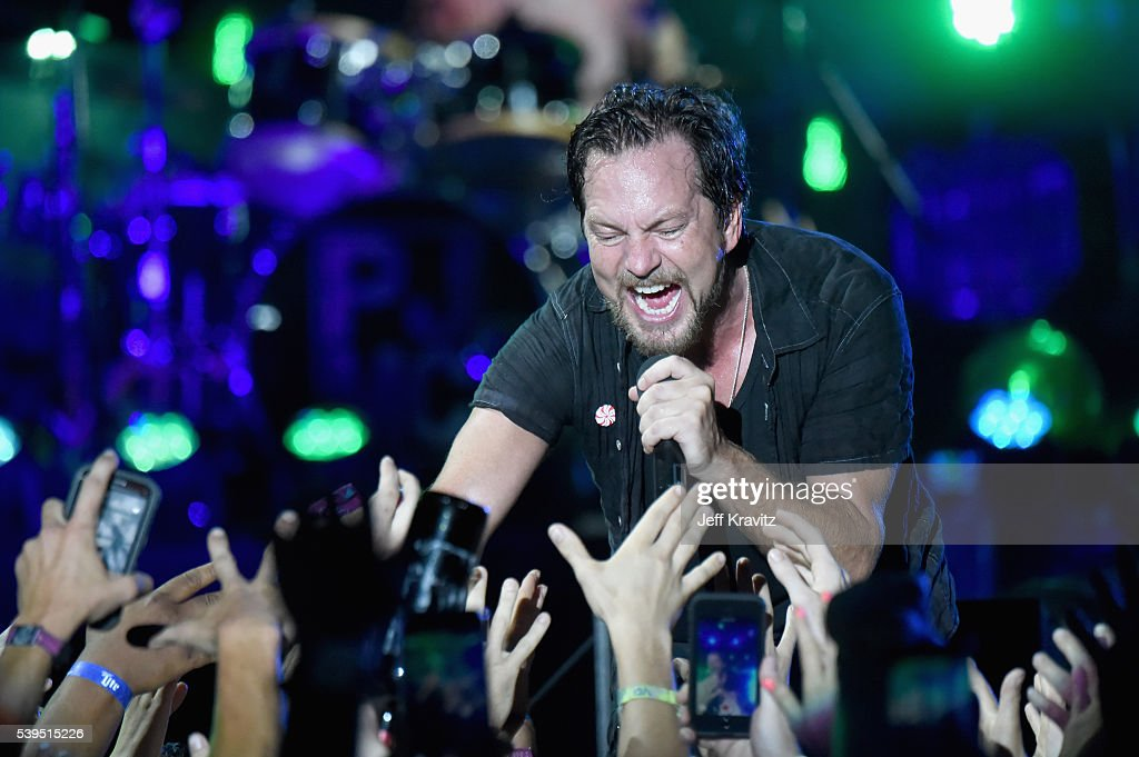 Recording artist Eddie Vedder of Pearl Jam performs onstage at What Stage during Day 3 of the 2016 Bonnaroo Arts And Music Festival on June 9 2016 in...