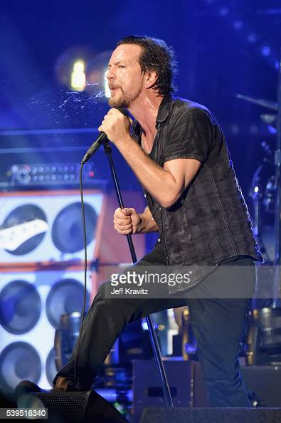 Recording artist Eddie Vedder performs onstage at What Stage during Day 3 of the 2016 Bonnaroo Arts And Music Festival on June 9 2016 in Manchester...