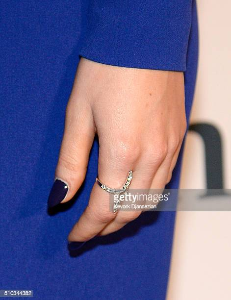 Recording artist Ellie Goulding manicure ring and fashion details attends the 2016 PreGRAMMY Gala and Salute to Industry Icons honoring Irving Azoff...